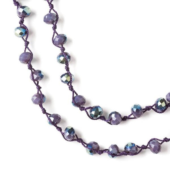 36 inch Hand Knotted Opaque Green AB Kissed Plum Purple 6x8mm Crystal Rondelle Necklace with Purple Nylon Cord