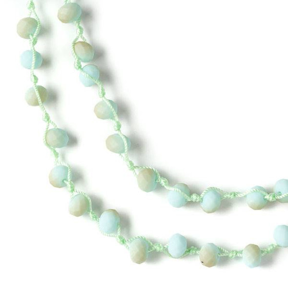 36 inch Hand Knotted Opaque Matte Sand Kissed Sea Foam 6x8mm Crystal Rondelle Necklace with Light Green Nylon Cord
