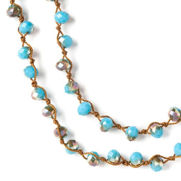 36 inch Hand Knotted Opaque Bronze Kissed Turquoise Blue 6x8mm Crystal Rondelle Necklace with Brown Nylon Cord