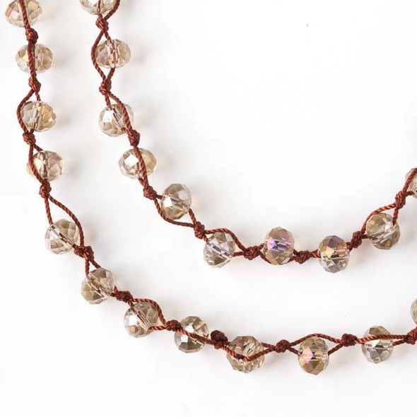 36 inch Hand Knotted Opaque Honey AB and Brown 6x8mm Crystal Rondelle Necklace with Brown Nylon Cord