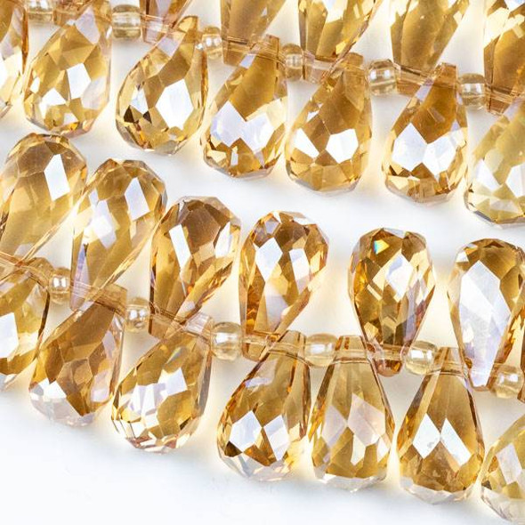 Crystal 10x18mm Top Drilled Briolette Beads - 8.5 inch strand, Champagne