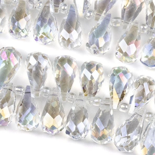 Crystal 10x18mm Top Drilled Briolette Beads - 8.5 inch strand, Clear AB