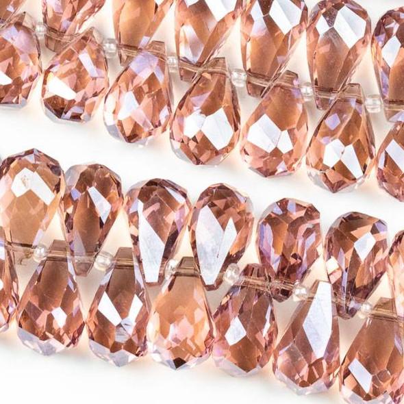 Crystal 10x18mm Top Drilled Briolette Beads - 8.5 inch strand, Dark Rose Pink