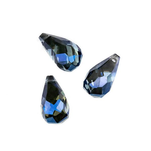 Crystal 10x18mm Top Drilled Briolette Beads - 8.5 inch strand, Midnight Blue