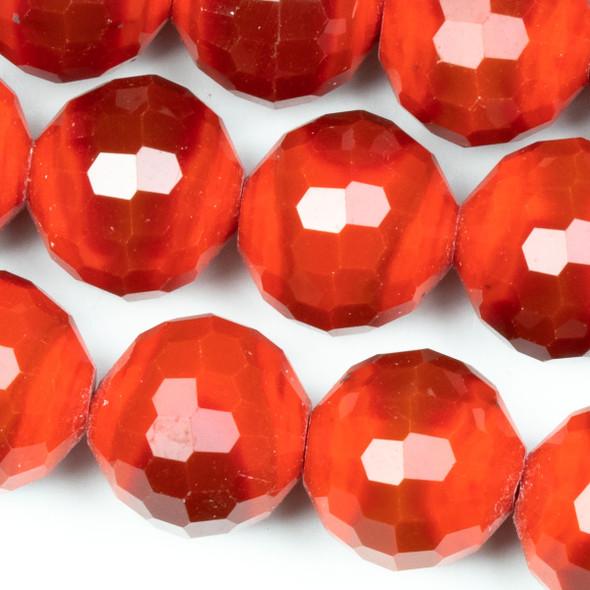 Crystal Faceted 12mm Burnt Reddish Orange Velvet Disco Ball Round - approx. 8 inch strand