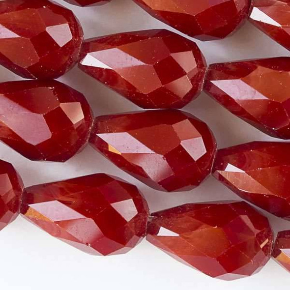 Crystal Faceted 10x15mm Dark Red Velvet Rounded Teardrop - approx. 8 inch strand