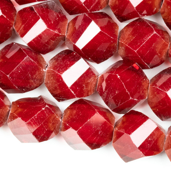 Crystal Faceted 10mm Red Velvet Twisted 4-Sided Twisted Round/Helix - approx. 8 inch strand