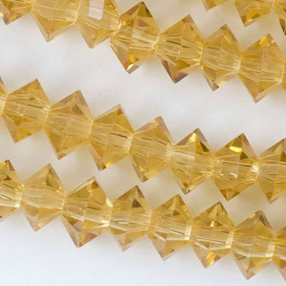 Crystal 3x6mm Champagne Short Bicone Rondelle - approx. 8 inch strand