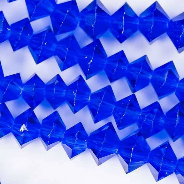 Crystal 3x6mm Cobalt Blue Short Bicone Rondelle - approx. 8 inch strand
