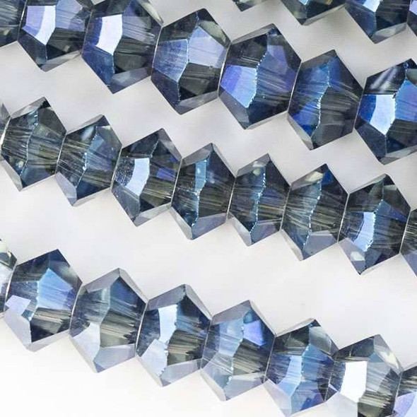 Crystal 3x6mm Deep Blue Sea Short Bicone Rondelle - approx. 8 inch strand
