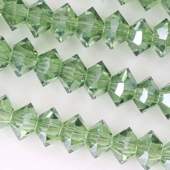 Crystal 3x6mm Dark Mint Green Short Bicone Rondelle - approx. 8 inch strand