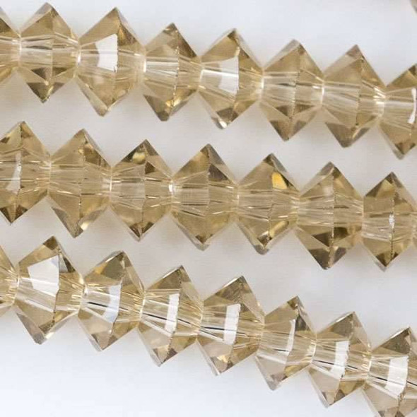 Crystal 3x6mm Fawn Short Bicone Rondelle - approx. 8 inch strand