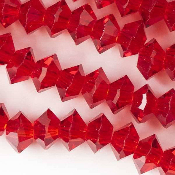 Crystal 3x6mm Light Siam Red Short Bicone Rondelle - approx. 8 inch strand