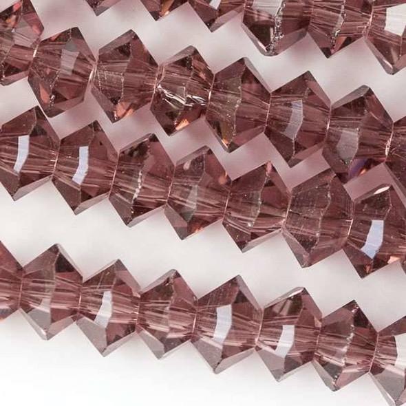 Crystal 3x6mm Medium Amethyst Short Bicone Rondelle - approx. 8 inch strand