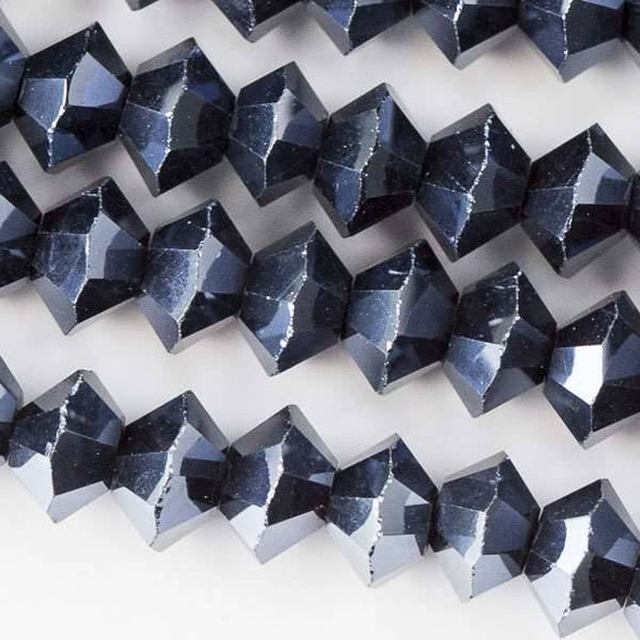 Crystal 3x6mm Midnight Blue Short Bicone Rondelle - approx. 8 inch strand