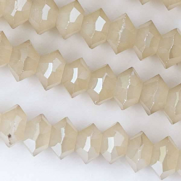 Crystal 3x6mm Opaque Sand Short Bicone Rondelle - approx. 8 inch strand