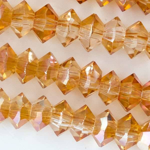 Crystal 3x6mm Orange Sunrise Short Bicone Rondelle with an AB finish - approx. 8 inch strand