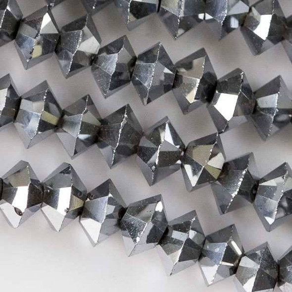Crystal 3x6mm Silver Short Bicone Rondelle - approx. 8 inch strand