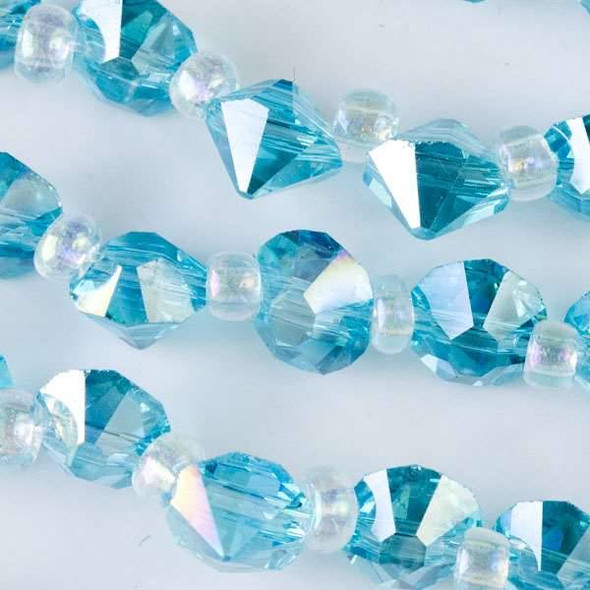 Crystal 6mm Caribbean Aqua Blue Faceted Rivets - approx. 8 inch strand