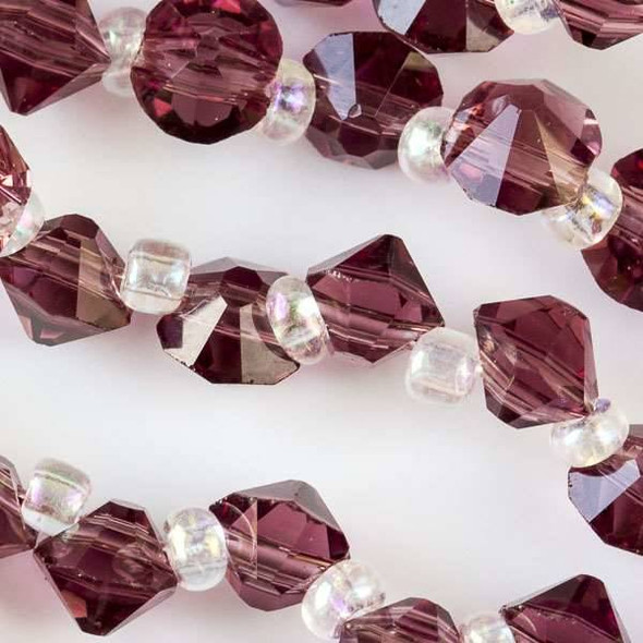 Crystal 6mm Medium Amethyst Faceted Rivets - approx. 8 inch strand
