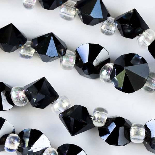 Crystal 6mm Midnight Blue Faceted Rivets - approx. 8 inch strand