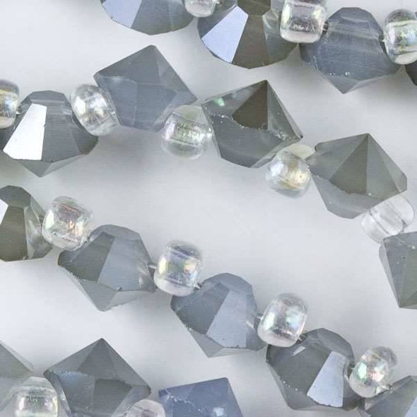 Crystal 6mm Opaque Grey Faceted Rivets - approx. 8 inch strand