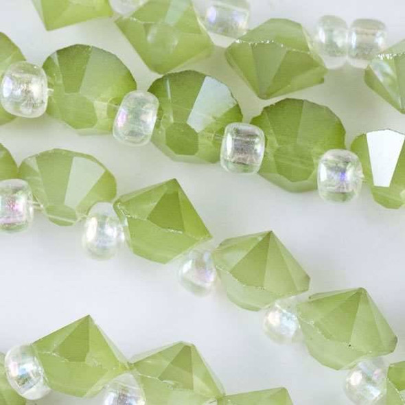 Crystal 6mm Opaque Light Seaweed Green Faceted Rivets - approx. 8 inch strand