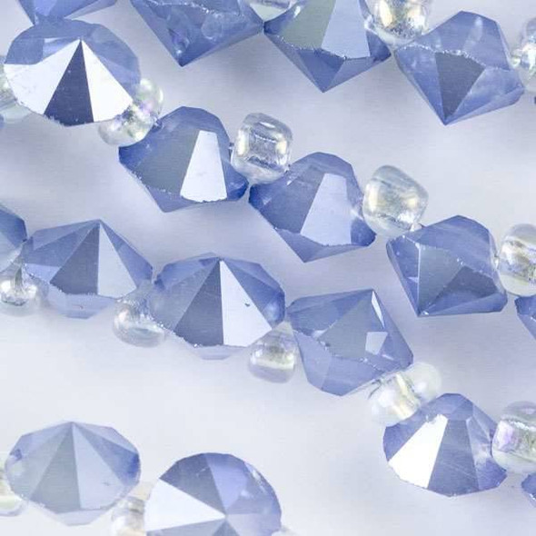 Crystal 6mm Opaque Periwinkle Blue Faceted Rivets - approx. 8 inch strand