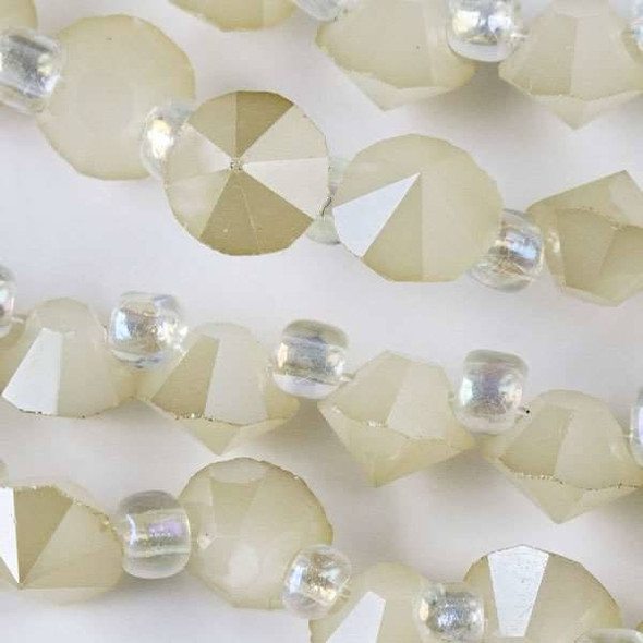 Crystal 6mm Opaque Sand Faceted Rivets - approx. 8 inch strand