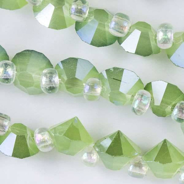 Crystal 6mm Opaque Sea Opal Green Faceted Rivets - approx. 8 inch strand