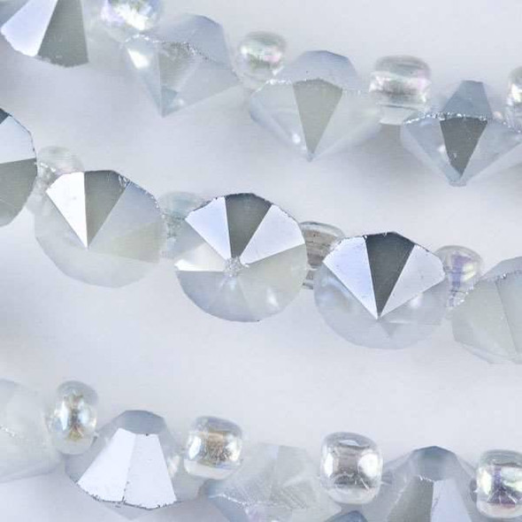 Crystal 6mm Opaque Winter Grey Faceted Rivets - approx. 8 inch strand