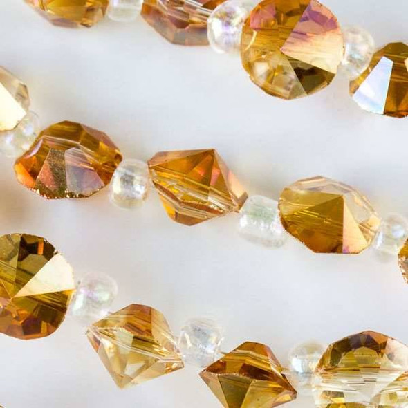 Crystal 6mm Orange Sunrise Faceted Rivets with an AB finish - approx. 8 inch strand