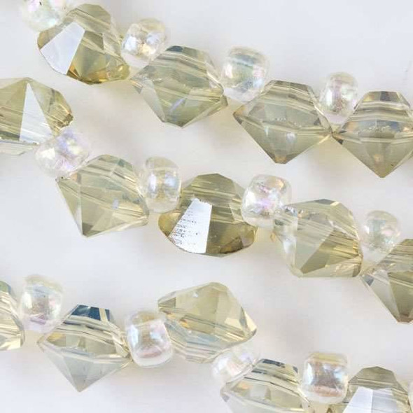Crystal 6mm Translucent Sand Faceted Rivets - approx. 8 inch strand