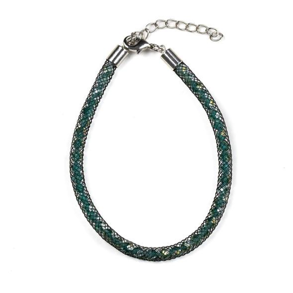 Emerald Green Crystal with Black Mesh Single Strand Bracelet