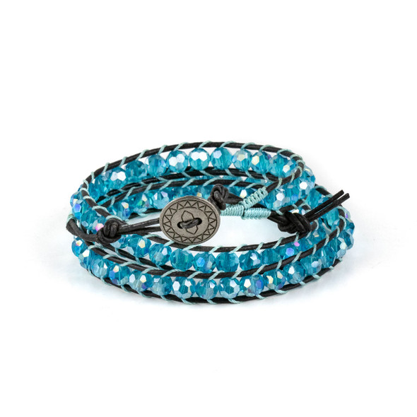 Caribbean Aqua Crystal AB 6mm Round Beads and Black Leather Wrap Bracelet