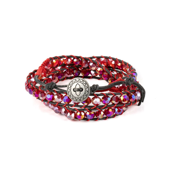 Light Siam Red Crystal AB 6mm Round Beads and Black Leather Wrap Bracelet