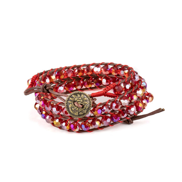 Light Siam Red Crystal AB 6mm Round Beads and Brown Leather Wrap Bracelet