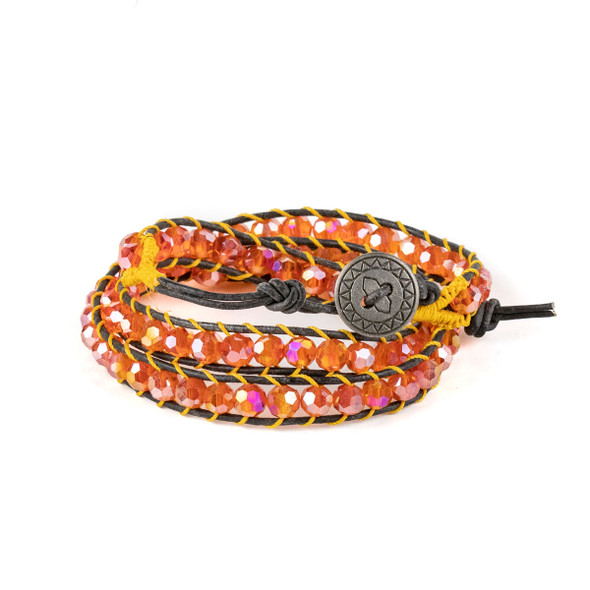 Tangerine Crystal AB 6mm Round Beads and Black Leather Wrap Bracelet