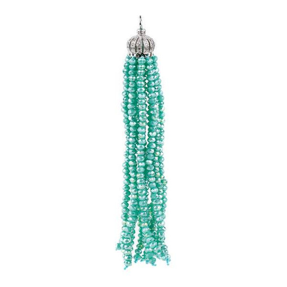 Opaque Ocean Blue Green AB 3.5 inch Crystal Tassel with Silver Pave Cap