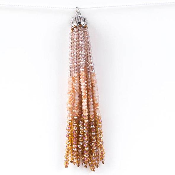 Topaz 3.5 inch Ombre Crystal Tassel with Silver Cap