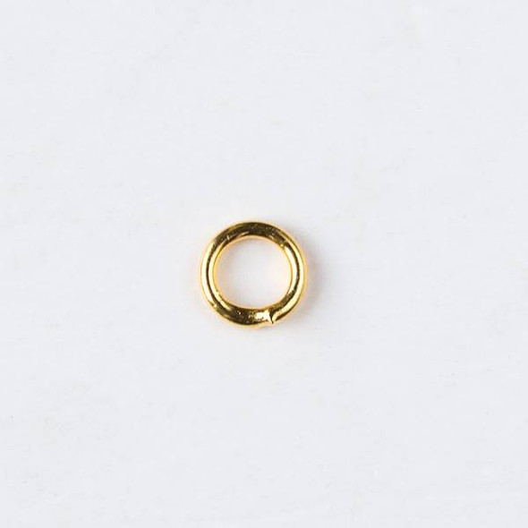 Gold Plated Brass 4mm Soldered Closed Jump Rings - 20 gauge - 100 per bag - CTB-20gclosrg4g