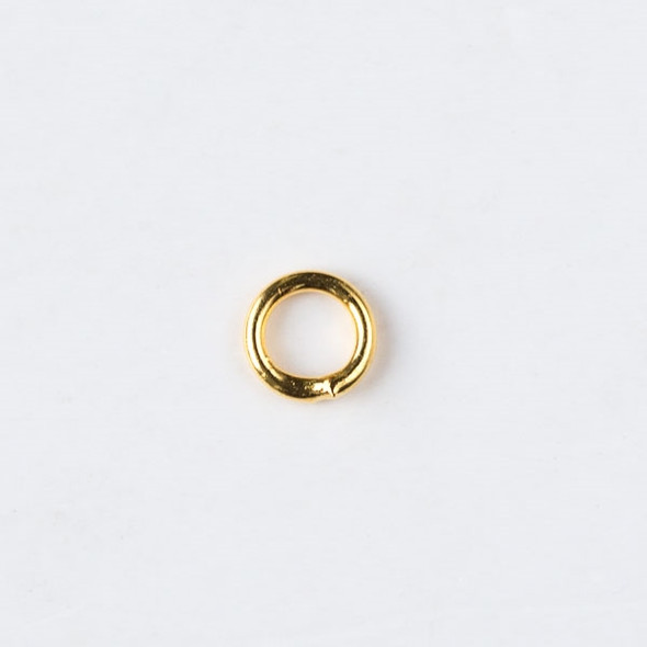 Gold Plated Brass 4mm Soldered Closed Jump Rings - 20 gauge - 50 per bag - CTB-20gclosrg4g-50