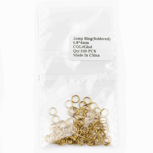 Gold Plated Brass 6mm Soldered Closed Jump Rings - 20 gauge - 100 per bag - CTB-20gclosrg6g