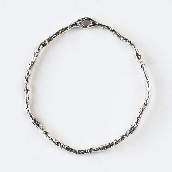 Silver Pewter 41x45mm Textured Hoop with a Connector Hole at the Top - 2 per bag - CTB-A001s