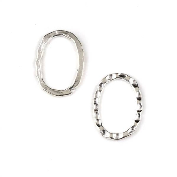 Bright Silver Pewter 12x16mm One Side Hammered, One Side Smooth Oval Link - 4 per bag - CTB-A060s