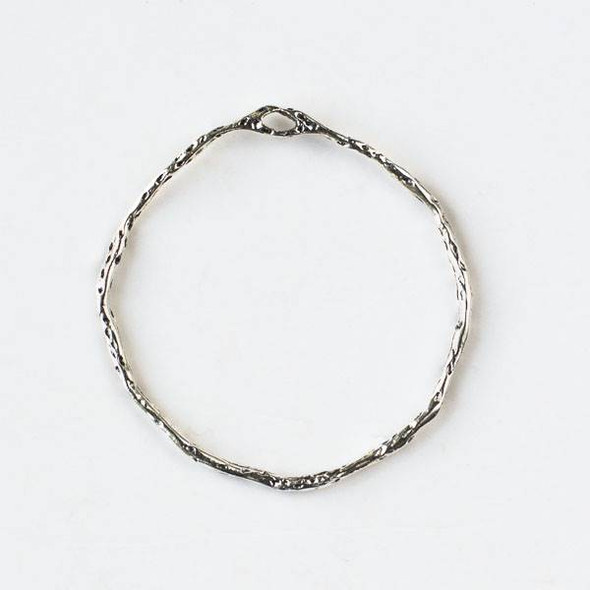 Silver Pewter 35mm Textured Hoop with a Connector Hole at the Top - 2 per bag - CTB-A112s