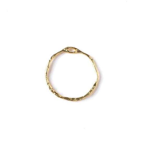 Gold Colored Pewter 22mm Textured Hoop with a Connector Hole at the Top - 2 per bag - CTB-A114g