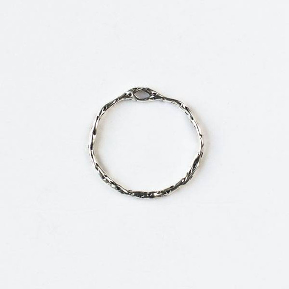 Silver Pewter 22mm Textured Hoop with a Connector Hole at the Top - 2 per bag - CTB-A114s