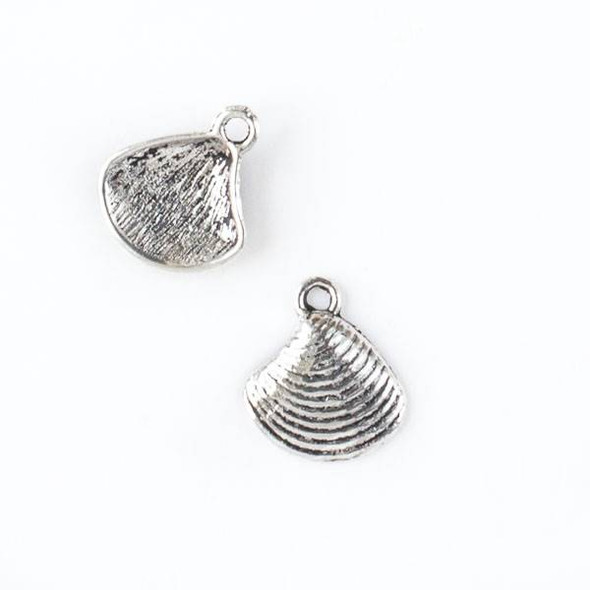 Silver Pewter 13x15mm Clam Shell Charm - 10 per bag