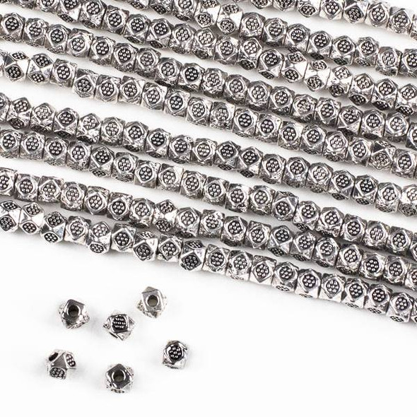 Silver Pewter 3mm Faceted Cube Spacer Beads with Stamped Daisy - approx. 8 inch strand - CTB00415s